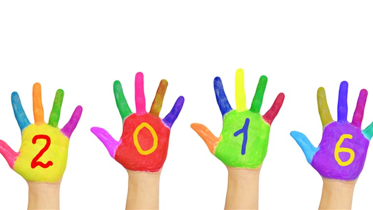 Anak-anak colorful hands forming number 2016.