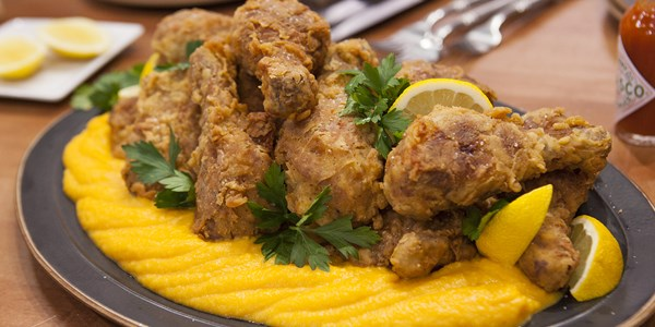 Nenek's sweet tea-brined fried chicken with butternut squash puree