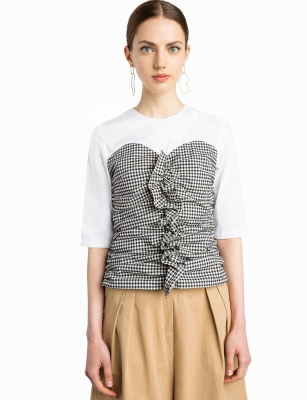 Peri Market Gingham Ruffled Bustier Top