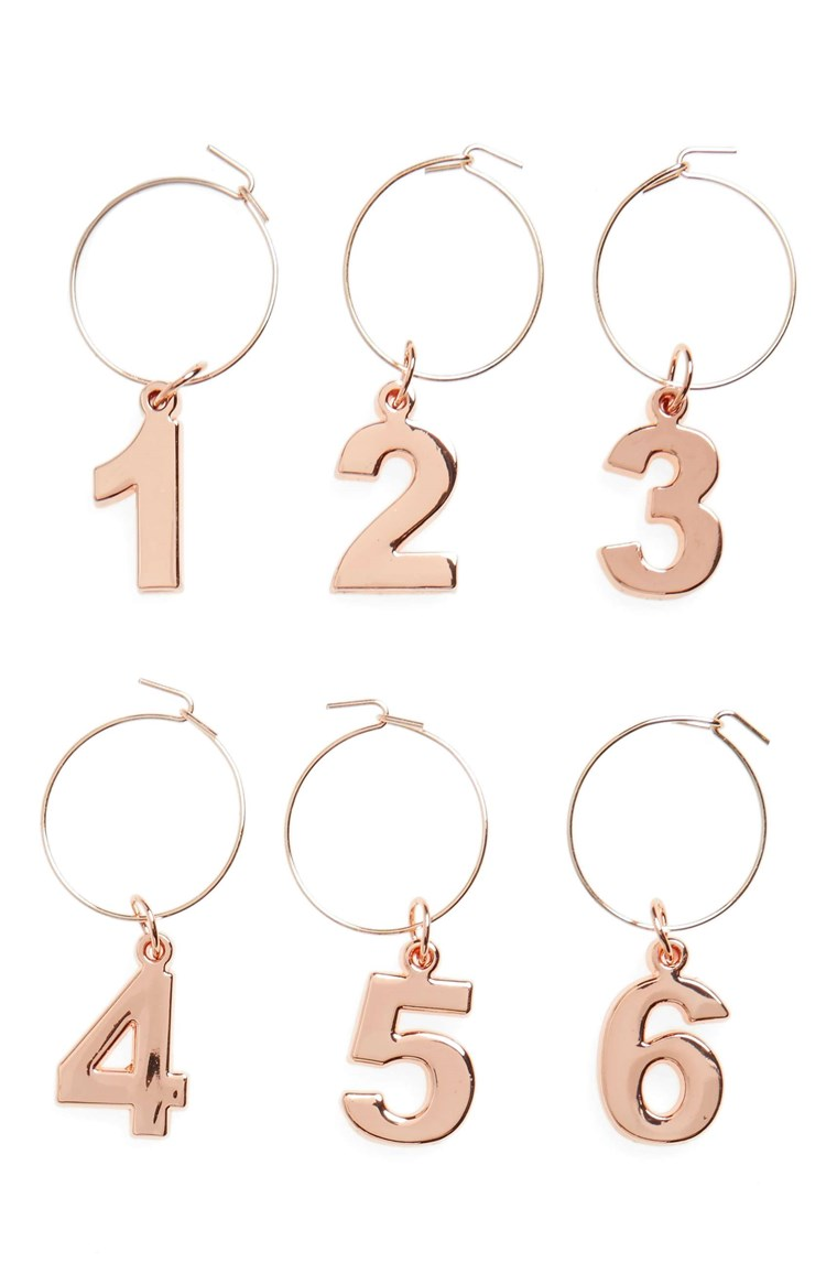 Impostato of 6 Gold Wine Charms