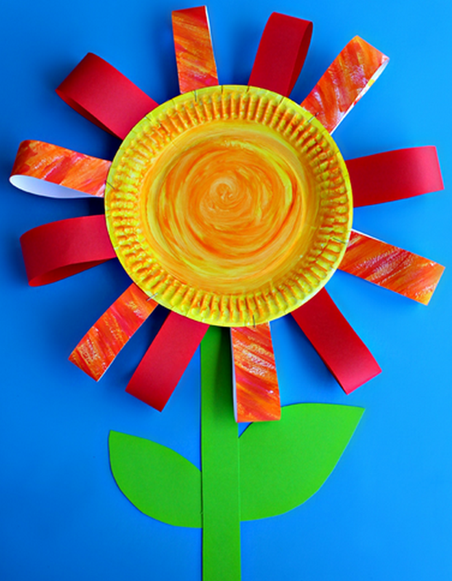 Kertas plate flower craft for kids