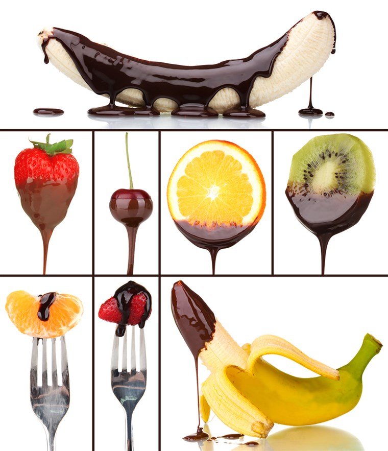 Lezat dessert collage - fruits with chocolate isolated on white; Shutterstock ID 210879736; PO: today.com