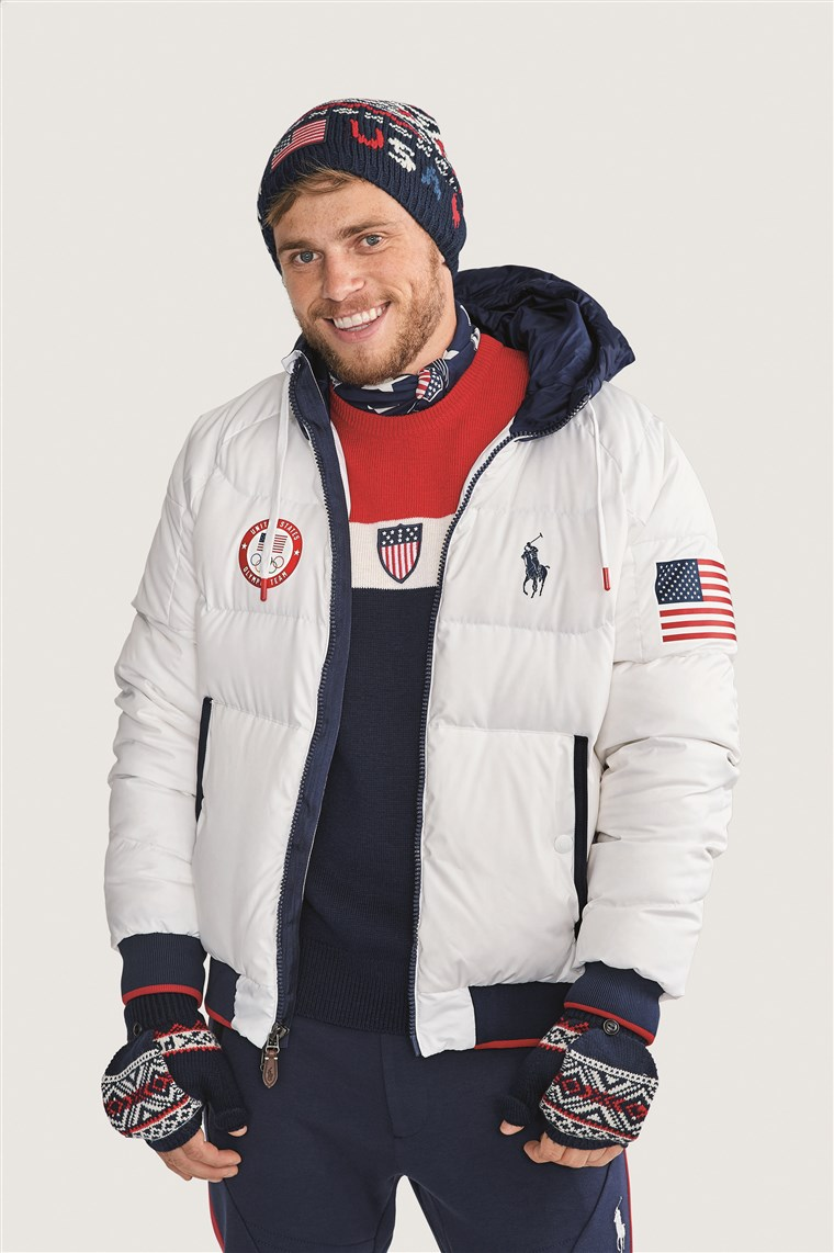Olimpiade Gus Kenworthy models Team USA's official closing ceremony uniform for the 2018 Winter Games.