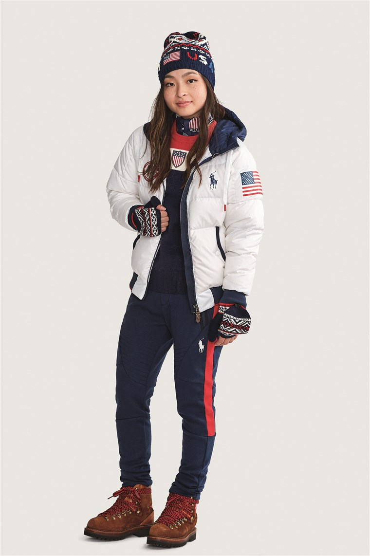 Olimpiade Maia Shibutani models Team USA's official closing ceremony uniform for the 2018 Winter Games.
