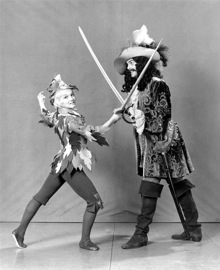 Cathy Rigby went from the Olympics to playing Peter Pan and fighting with Captain Hook in 1974.
