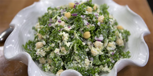 Tzatziki-Kale Salad with Brown Rice and Chickpeas