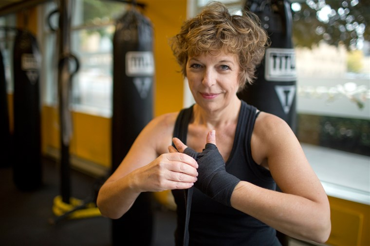 ダイアン Mapes, seen here wrapping her hands before working out at Axtion Club boxing gym in downtown Seattle, ...