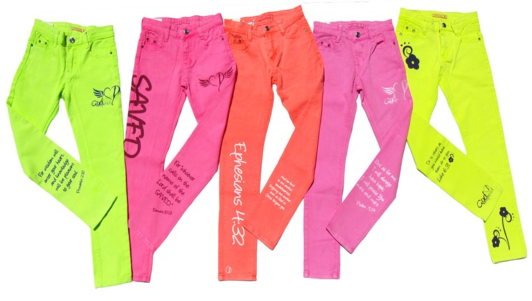 카일리 Bisutti's new clothing line, called God Inspired Fashion, includes a collection of of neon-colored denim.