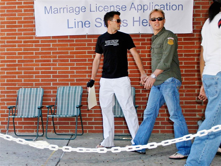 Jason Dottley and his former husband Del Shores, pictured in 2008 when they obtained their marriage license. MAVRIXPHOTO.COM Exclusive!! Upcoming LOGO network series