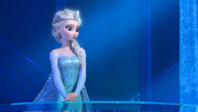 이 image released by Disney shows a teenage Elsa the Snow Queen, voiced by Maia Mitchell, in a scene from the animated feature