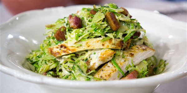 Caldo Brussels Sprouts Caesar Salad with Chicken and Bacon