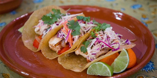 Pesce Tacos with Creamy Chipotle Cabbage Slaw