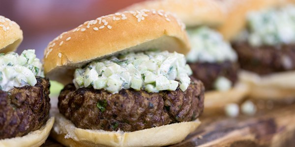 Kofta Burgers with Cucumber and Cumin Yogurt Relish
