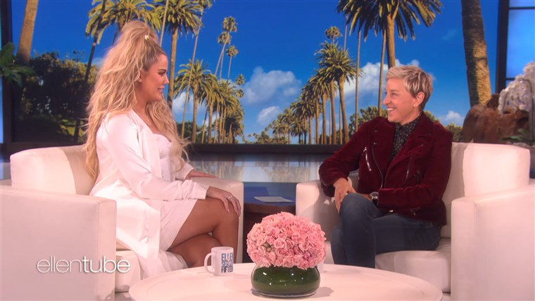 Khloe Kardashian on Ellen today talking pregnancy.