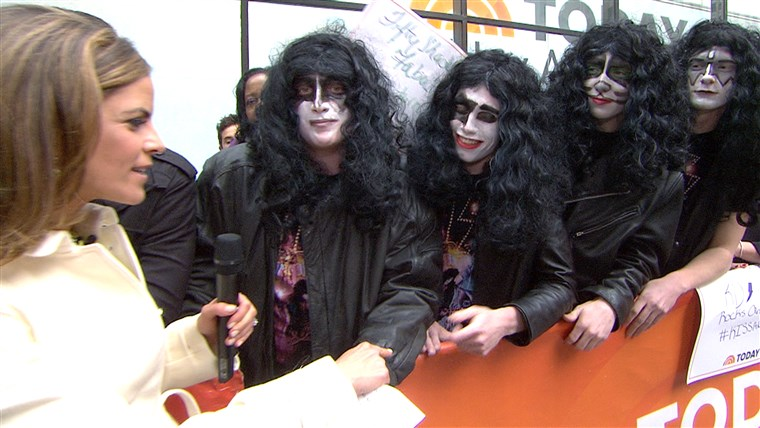 quattro high school students from Montgomery, N.Y., who were sent home from a school function for dressing like the members of KISS, talked with Natalie Morales before meeting their idols on Friday.