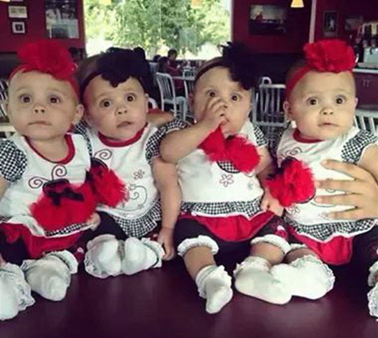 Kenleigh, Kristen, Kayleigh and Kelsey in September, 7 months after their surprise entrance.