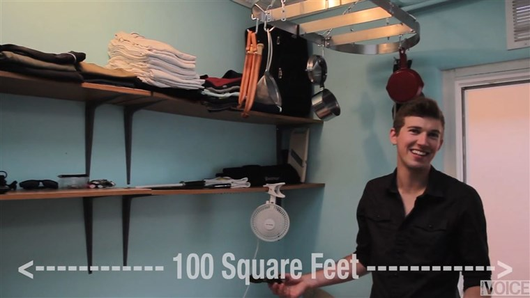 이 guy that lives in a 100 square foot NYC apartment for $1,100 a month