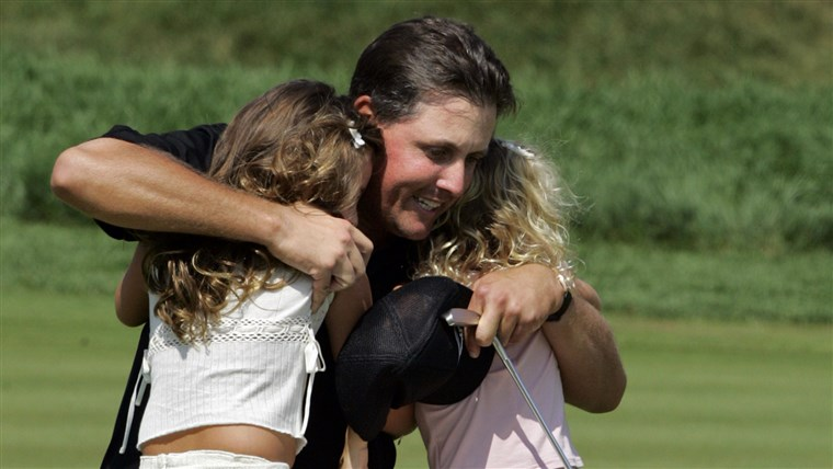 Flashback to 2005, when Mickelson hugged a much-younger Amanda, left, and daughter Sophia after winning the 87th PGA Championship.