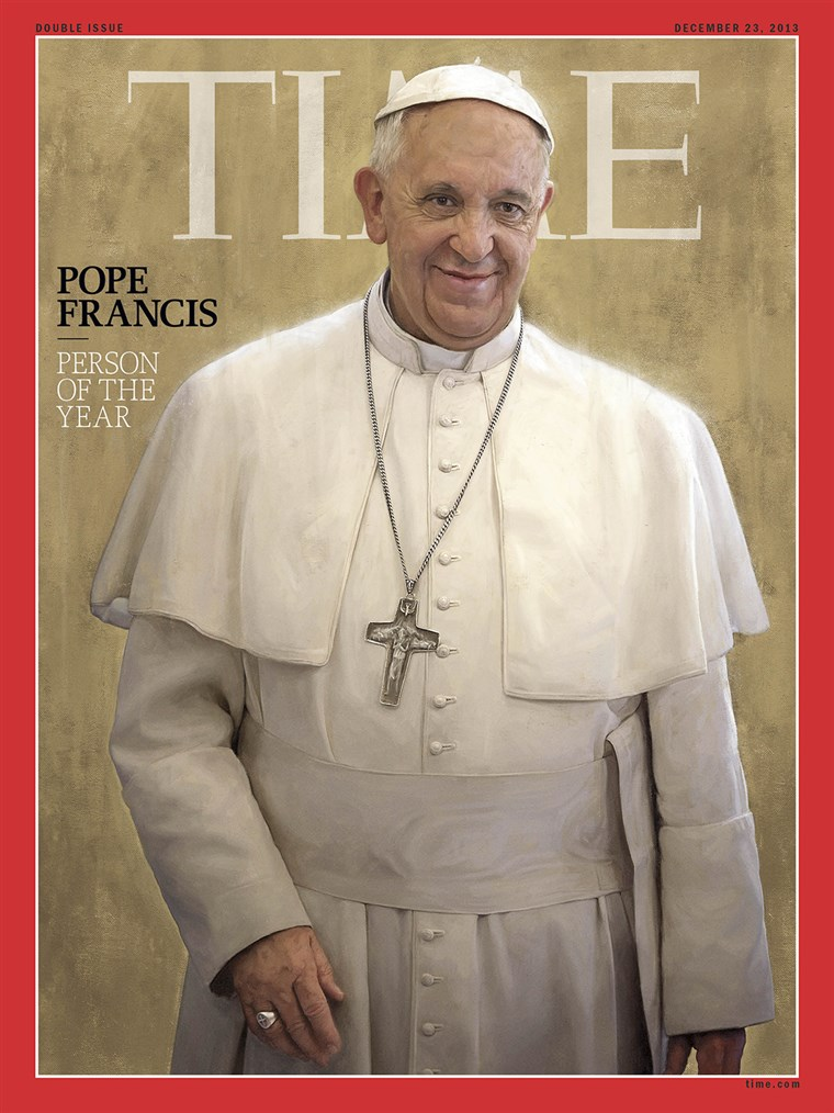 Paus Francis was chosen by the magazine for his impact on the world and news in 2013.