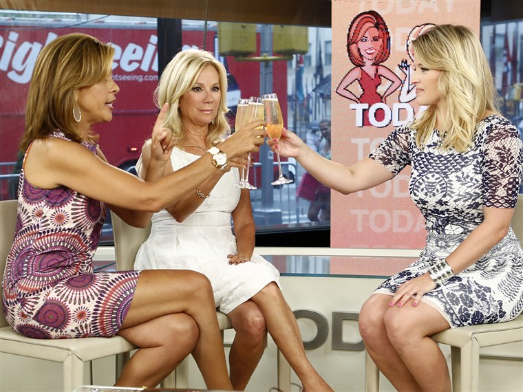 Kathie Lee and Hoda send Sara Haines off with a toast Friday morning.