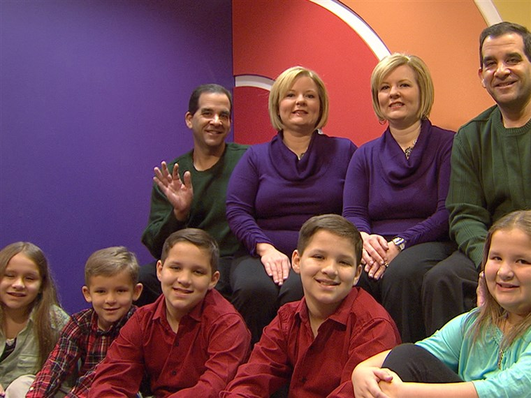 identico twins Mark and Craig Sanders appeared on TODAY with their wives, identical twins Diane and Darlene Sanders, and their combined five children, including Craig and Diane's identical twin boys, Colby and Brady.
