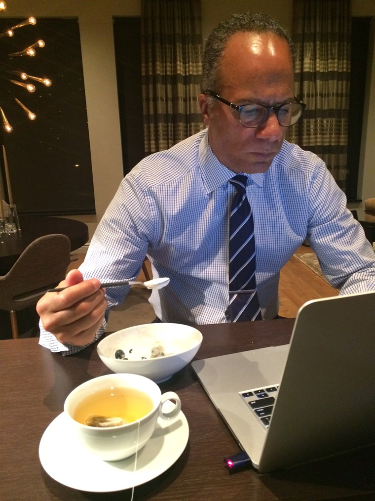Lester Holt checks out the morning news