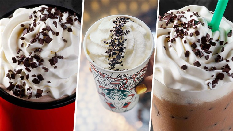 A partire dal left: Starbucks' Black and White Hot Cocoa, Black and White Mocha, and Black and White Frappuccino.