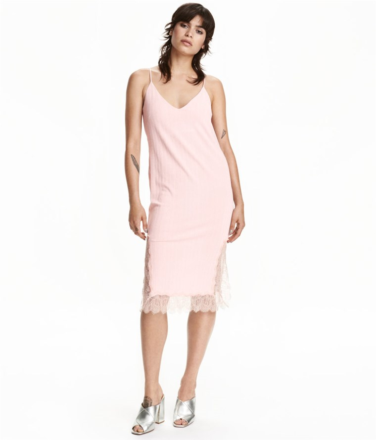 H & M pink slip dress with lace