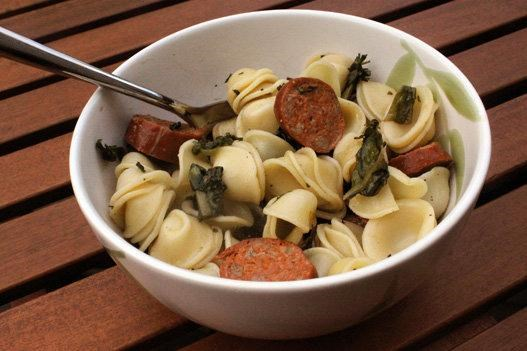 Yummy! Try orecchiette with chicory and Andouille chicken sausage.