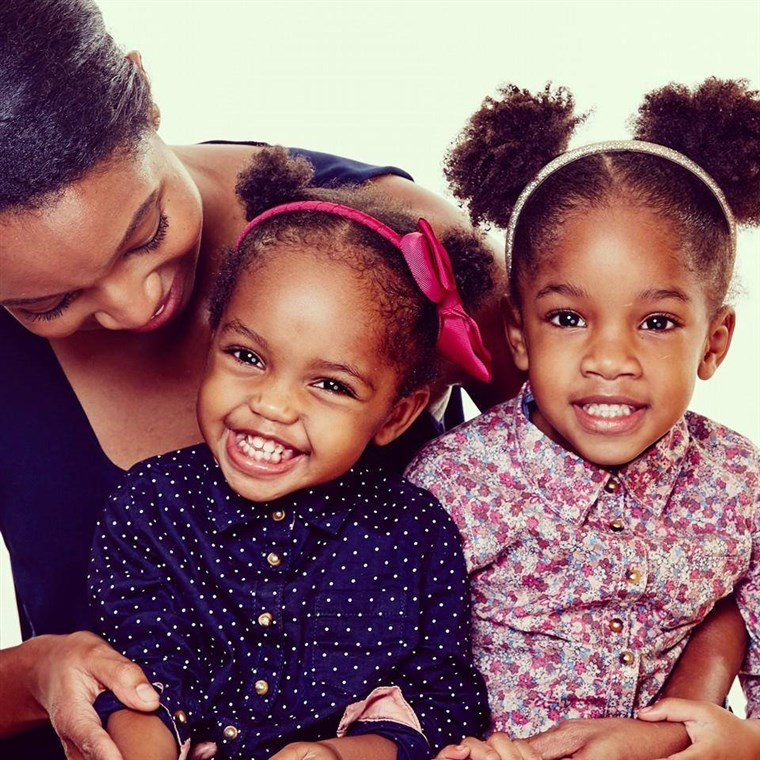 Angelica Sweeting with her daughters Sophia, 4, and Sydney, 2.